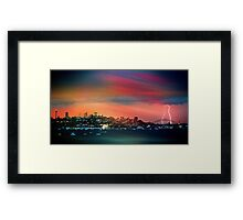 Amazing lightning strike over Sydney Harbour Bridge Framed Print