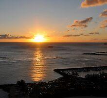 Last Sunset  in Waikiki by Cheryl  Lunde