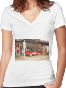 Route 66 Corvette Women's Fitted V-Neck T-Shirt