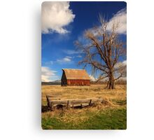 Old Barn And Wagon Canvas Print