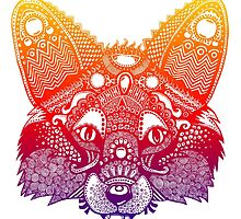 Rainbow Fox - Zentangle Inspired - Super Vibrant by janelledimmett