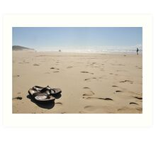 Sandals on the sand Art Print