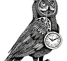 Owl with Pocket Watch Zentangle Drawing - Detailed! by janelledimmett