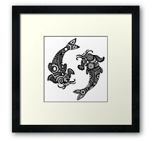 Black and White - Koi Fish Dancing - Super Detailed Framed Print