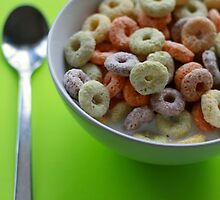 generic fruit loops on lime green. by x99elledge