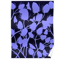Seedhead Silhouette in Blue Poster