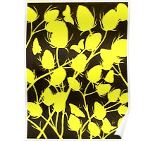 Seedhead Silhouette in Yellow Poster