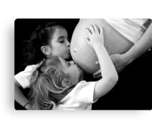 Kissing Mommy's Belly Canvas Print