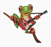 Tree Frog Playing Canadian Flag Guitar Kids Tee