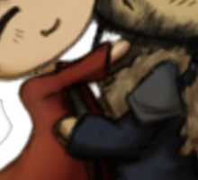 Thorin and Bilbo Hugging chibis Sticker