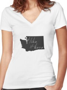 I Like it Here Washington Women's Fitted V-Neck T-Shirt