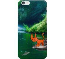Cat at A Lake Fishing iPhone Case/Skin