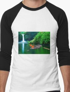 Cat at A Lake Fishing Men's Baseball ¾ T-Shirt