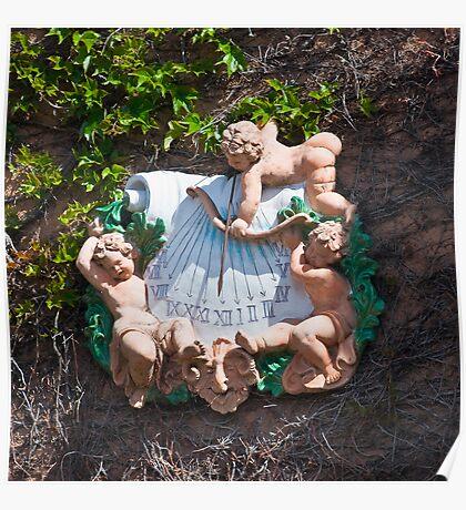Bacchus Sundial with Cherubs, Viansa Winery, California Poster