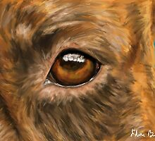 Eye of the Dog - Close-Up Painting of Pit Bull's Eye by ibadishi