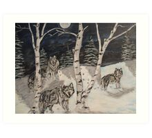 Wolves in the woods Art Print