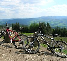 Bikes and View of Scottish Borders by laurawhitaker