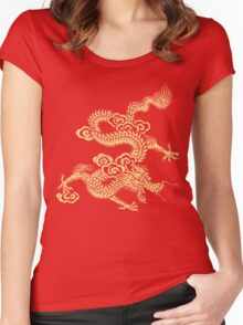 Gold Chinese Dragon Clothing Women's Fitted Scoop T-Shirt
