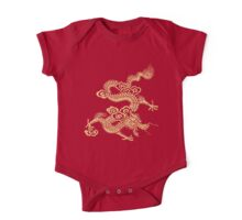 Gold Chinese Dragon Clothing One Piece - Short Sleeve