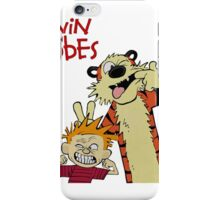 calvin and hobbes laughing together iPhone Case/Skin