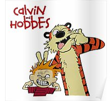calvin and hobbes laughing together Poster