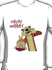calvin and hobbes laughing together T-Shirt