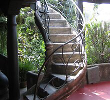 Curving Tropical Stairway by Pat Yager