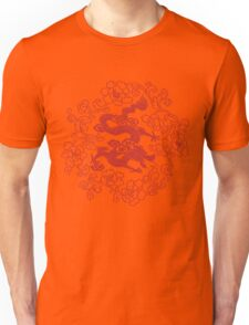 Red Dragon Ring of Roses Embroidery Unisex T-Shirt