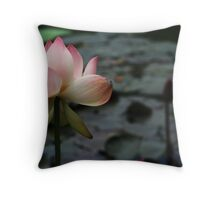 Pink Lotus in a Pond Throw Pillow