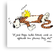 Calvin And Hobbes Quote Canvas Print