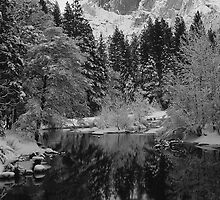 HALFDOME REFLECTED IN MERCED RIVER by Chuck Wickham