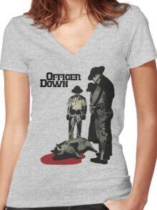 Officer Down Women's Fitted V-Neck T-Shirt