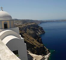 Church over the Caldera on Santorini by BRENDA KEAN