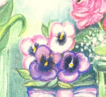 SPRINGTIME FLOWERS - TULIPS - PANSIES - BUTTER CUPS - Pastel -and Colour Pencil-Desing Sticker