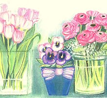 SPRINGTIME FLOWERS - TULIPS - PANSIES - BUTTER CUPS - Pastel -and Colour Pencil-Desing by RubaiDesign