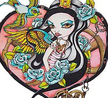 Playing With The Queen of Hearts - Rockabilly Tattoo Style Art by Concetta Kilmer