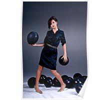 Teenage Fashion Girl and Balloons Poster