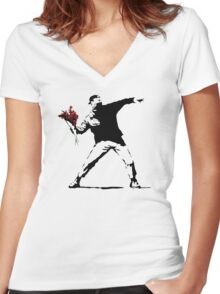 Banksy Flower Thrower Women's Fitted V-Neck T-Shirt