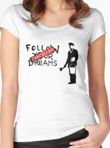 Banksy Follow Your Dreams Women's Fitted Scoop T-Shirt