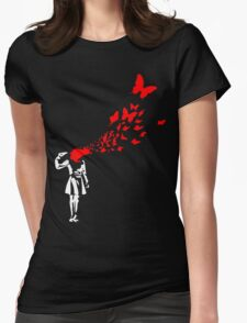 Banksy Butterfly Girl Womens Fitted T-Shirt