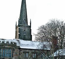 The Priory and St. Mary's Priory church steeple by missmoneypenny