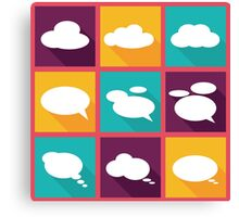 speech clouds, bubbles in flat design with shadows Canvas Print