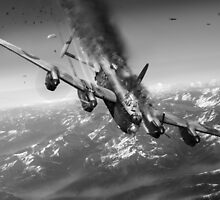Berchtesgaden Lancaster F-for-Freddy black and white version by Gary Eason + Flight Artworks