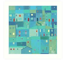 Blue town from the steps Art Print