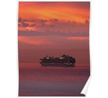 cruiser with sunset I - crucero con puesta del sol Poster