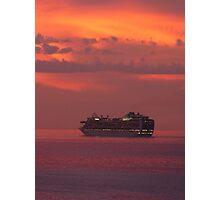 cruiser with sunset I - crucero con puesta del sol Photographic Print