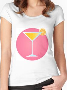 Pink cocktail in glass with orange and bubbles Women's Fitted Scoop T-Shirt