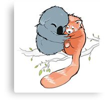Red Panda + Koala Bear Cuddles Canvas Print