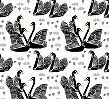 Origami Swans - Black on White by Andrea Lauren by Andrea Lauren