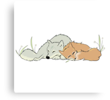 Fox + Wolf Cuddles Canvas Print